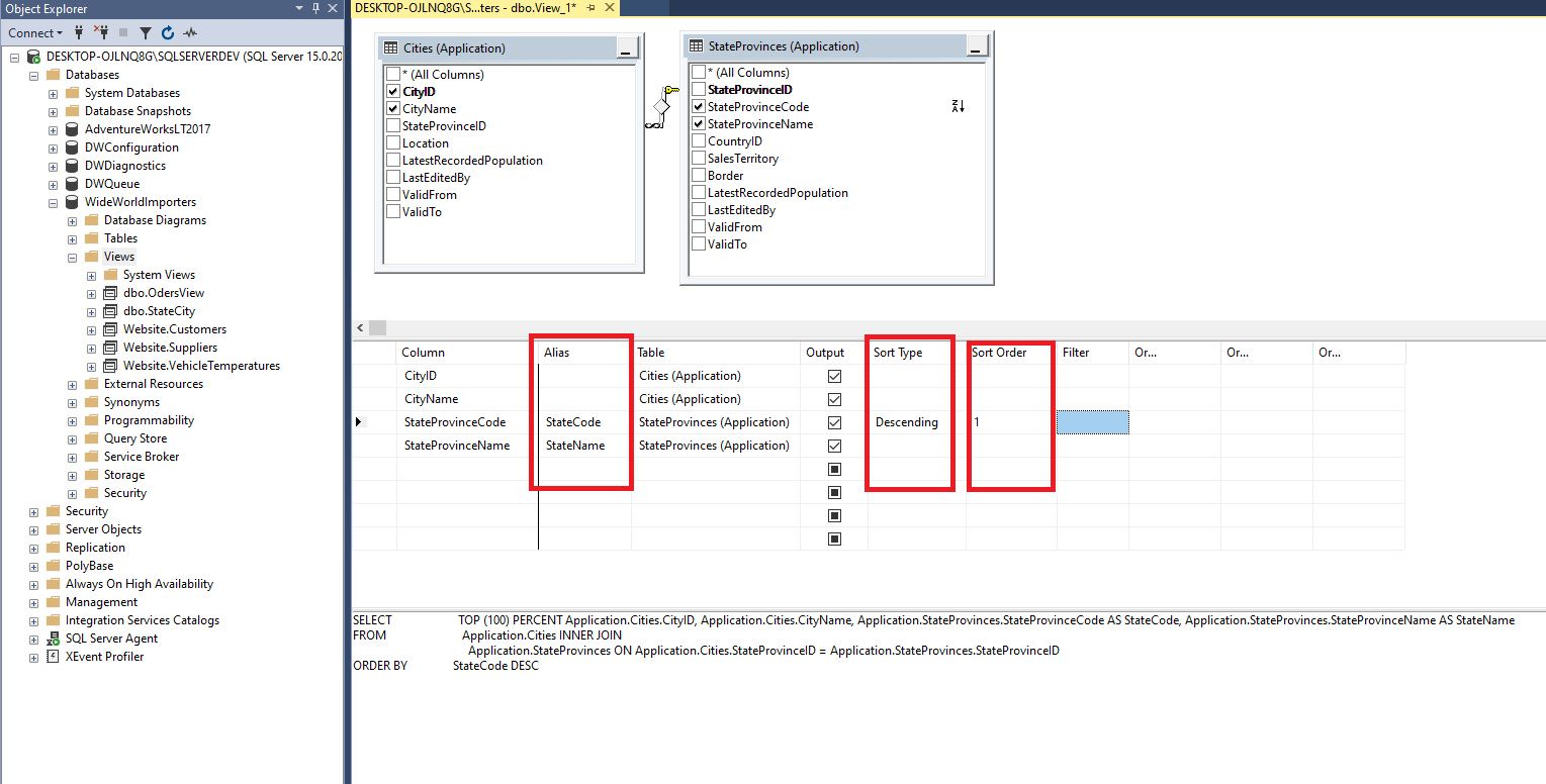 Creating view in ssms Step 5